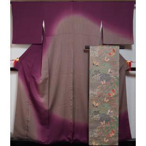着物セット 訪問着・袋帯 2点セット 縞にぼかし模様 裄長 サイズ 送料無料 中古 リサイクル 訪問...