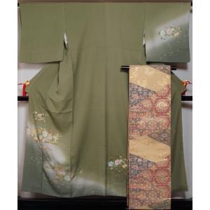 着物セット 訪問着・袋帯 2点セット ぼかしに三重の塔模様 落款有り 送料無料 中古 リサイクル 訪問着 リサイクル着物 仕立て上がり 正絹 訪問着 購入 販売|kimonotenyou