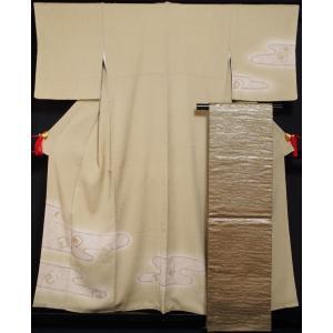着物セット 未使用品 訪問着・袋帯 2点セット 林淳一 エ霞に色紙・短冊模様 膨れ織 作家物 落款有り 送料無料 中古 リサイクル着物 正絹 訪問着 セット|kimonotenyou