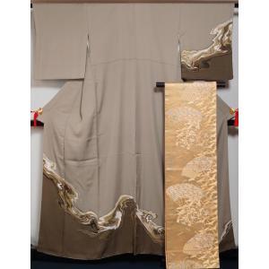 着物セット 訪問着・袋帯 2点セット 墨流し模様 サンドグレー色 送料無料 中古 リサイクル 訪問着 リサイクル着物 仕立て上がり 正絹 訪問着 セット 購入 販売|kimonotenyou