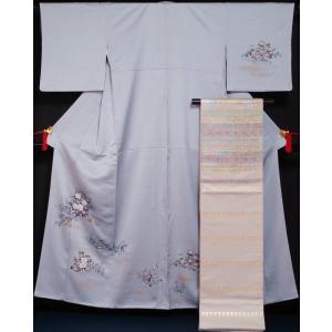 着物セット 付下げ訪問着・西陣 袋帯 2点セット 入山に春秋草花模様 白菫色 送料無料 中古 付下げ 付け下げ リサイクル 訪問着 リサイクル着物 正絹|kimonotenyou