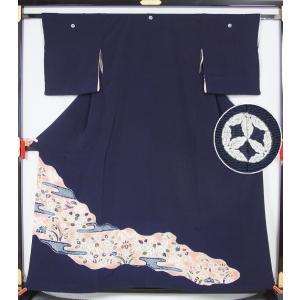 色留袖 道長に辻が花模様 九枚柏模様  送料無料 リサイクル着物   アンティーク着物|kimonotenyou