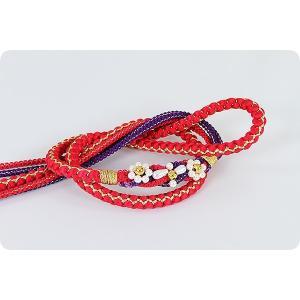 振袖用 正絹帯〆 | 赤/紫|kimonowashou