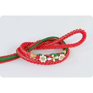 振袖用 正絹帯〆 | 赤/緑|kimonowashou