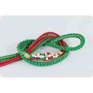 振袖用 正絹帯〆   緑/赤 kimonowashou