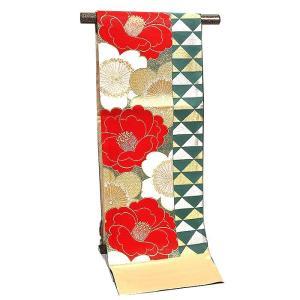 袋帯 振袖用 正絹 西陣織【大光謹製 緑/赤 椿/鱗】|kimonowashou