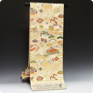 正絹西陣袋帯 白寿苑謹製 秀麗宝尽し文  美しいキモノ掲載|kimonowashou