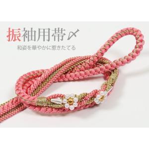 振袖用 正絹帯〆 水色/金|kimonowashou