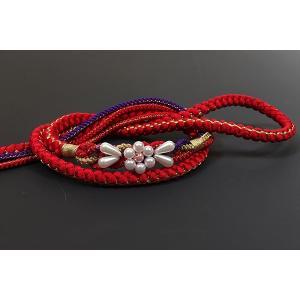振袖用 正絹帯〆 赤/紫|kimonowashou