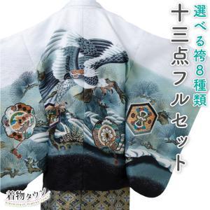 七五三 着物 男の子 五歳  13点フルセット 羽織袴セット 鷹 白色 ホワイト 753 五才 5歳 5才 子供 男児 販売 購入 送料無料