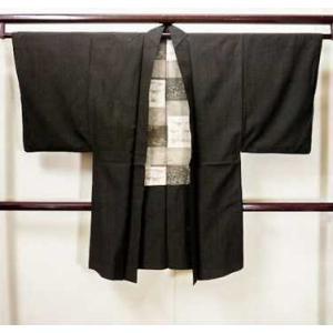 着物 羽織 男性用 和服 Lining design: HAIKU シルク(正絹)  ダークな ブラ...