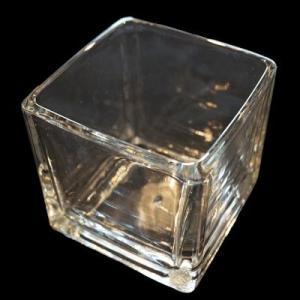 キャンドル用ガラス容器 【キューブ】スクエアL 36個入りカートン(フィルム付)|kinaricandle