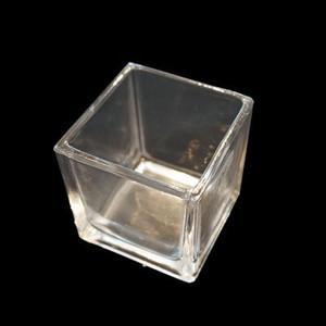 キャンドル用ガラス容器 【キューブ】スクエアM 4個セット (フィルム付)|kinaricandle