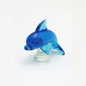 ガラス細工 イルカ   【 ミニチュアサイズ 装飾 オブジェ 置物 ジェルキャンドル材料 】|kinaricandle