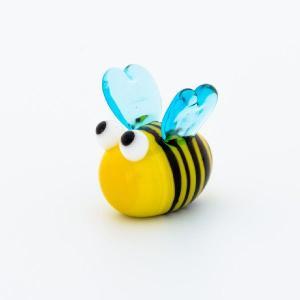 ガラス細工 ハチさん  【 ミニチュアサイズ 装飾 オブジェ 置物 ジェルキャンドル材料 】|kinaricandle