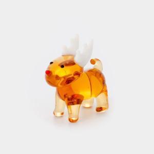 ガラス細工 トナカイ  【 ミニチュアサイズ 装飾 オブジェ 置物 ジェルキャンドル材料 】 |kinaricandle