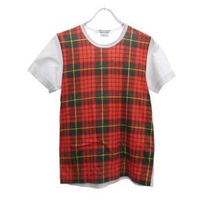 COMME des GARCONS COMME des GARCONS チェック切替Tシャツ ホワイト×レッド サイズ:S (堅田店) 190625|kindal