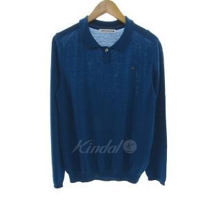 mina perhonen loma シルク混ポロシャツ ブルー サイズ:38 (元町店) 170915|kindal