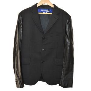 JUNYA WATANABE CdG MAN PINK 16AW フェイクレザースリーブテーラードジャケット ブラック サイズ:L (堀江店) 191|kindal