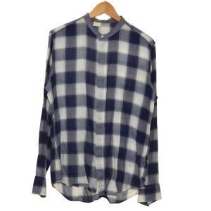 N.HOOLYWOOD オンブレチェック ノーカラーシャツ ブルー×ホワイト サイズ:40 (堀江店) 190716|kindal