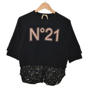 N21 半袖レーススウェット ブラック サイズ:44 (堀江店) 190720|kindal