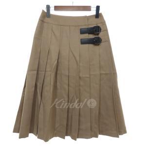 BLUE LABEL CRESTBRIDGE プリーツスカート キャメル サイズ:36 (京都店) 190821|kindal