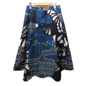 COMME des GARCONS 2018SS 総柄デザインスカート ブラック×グリーン サイズ:S (茶屋町店) 190822|kindal