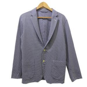 green label relaxing ストレッチシアサッカー2Bシャツジャケット ブルー×ホワイト サイズ:S (茶屋町店) 190820|kindal