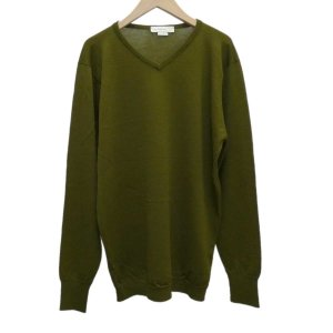 JOHN SMEDLEY Vネックニット セーター オリーブ サイズ:M (堅田店) 191201
