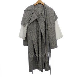 beautiful people milled jesey no collar wrap coat 袖切替コート グレー/ホワイト系 サイズ:36 (|kindal