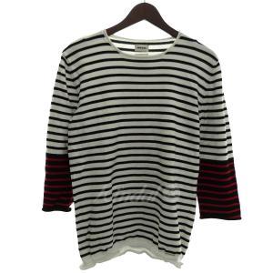 DIESEL ボーダークルーネックニットセーター ホワイト×ブラック×レッド サイズ:L (自由が丘店) 190822|kindal