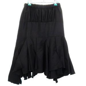 COMME des GARCONS シルク混ウールスカート ブラック サイズ:XS (EC) 190410|kindal