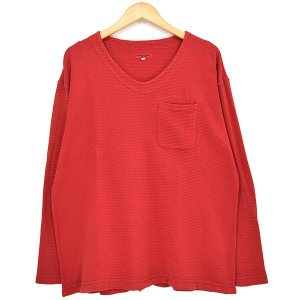 Engineered Garments U NECK POP OVER 染め加工サーマルカットソー 2018SS レッド サイズ:M (新潟亀田店)|kindal