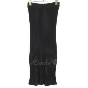 LE CIEL BLEU 2017S/S プレーティング ニットリブロングスカート ブラック サイズ:36 (三宮店) 190822|kindal