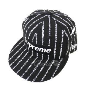 【10月10日値下】SUPREME 19SS 「Text Stripe New Era」ボックスロゴベースボールキャップ ブラック サイズ:7 1/4|kindal