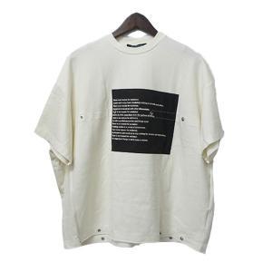 ALMOSTBLACK ボタン付きプリントスウェットTシャツ 半袖スウェット ホワイト サイズ:1 (高円寺店) 190817|kindal