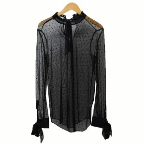 【SALE】 Equipment ドット柄 シースルーシャツ シャツ サイズ:S (二子玉川店)|kindal