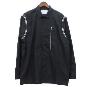 STAMPD 2019SS ZIP ラインデザイン シャツ ブラック サイズ:L (三軒茶屋店) 190716|kindal