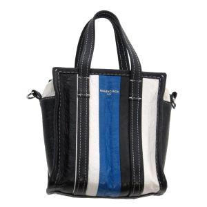 BALENCIAGA BAZAR SHOPPER バザール 2WAYバッグ スモールショッピングバッグ ブルー×ホワイト×ブラック サイズ:XXS ( kindal