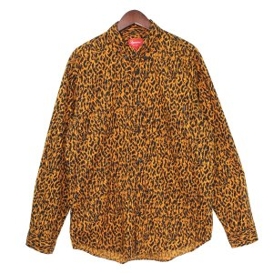 SUPREME 13SS Leopard Shirt レオパードボタンダウンシャツ オレンジ サイズ:L (吉祥寺店) 190716|kindal