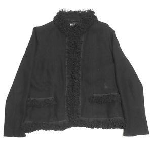 CHANEL ニット コットン ジャケット ブラック サイズ:42 (四条中之町店) 190814|kindal