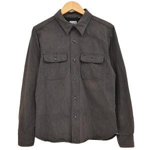 THE FLAT HEAD ヘリンボーン ワークシャツ ブラウン サイズ:38 (新潟亀田店) 190716|kindal