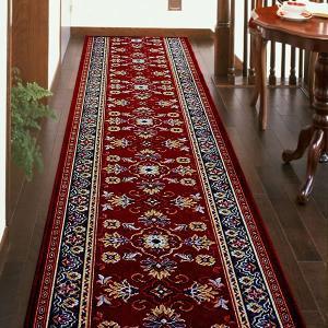 廊下敷き 廊下マット ベルギー製 廊下用絨毯 〜ラリスタン〜 レッド 幅78cm×長さ240cm|king