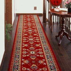 廊下敷き 廊下マット ベルギー製 廊下用絨毯 〜ラリスタン〜 レッド 幅78cm×長さ340cm|king