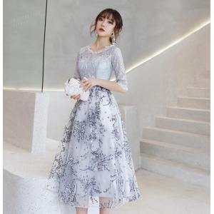 パーティードレス ミモレ丈 結婚式 お呼ばれドレス ワンピース 二次会ドレス ゲストドレス 袖あり 透け感レース 発表会 ウェディングドレス 大きいサイズも対応|kingcity-shjp