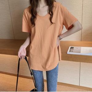 Tシャツ 半袖Tシャツ チュニック トップス ワンピース ゆったり ロングTシャツ レディース ロゴ 深めなサイドスリット 着痩せ 体型カバー シャツワンピース kingcity-shjp