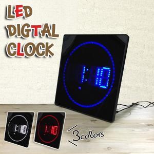 LEDデジタルクロック スクエア 壁掛け時計 カレンダー機能 温度計###時計JH3280###|kingdom-sp