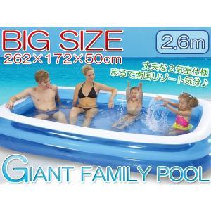 大型ビニールプール ファミリープール  260×170cm 2気室 クッション性 水あそび レジャープール 家庭用プール###プールAPL102-N###|kingdom-sp