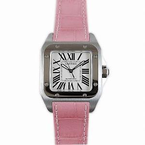 カルティエ CARTIER サントス100 SS/MM W20126X8 ボーイズ 自動巻き ピンク革ベルト 人気モデル新作 kingsroad
