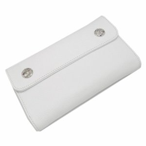 CHROME HEARTS(クロムハーツ) ウェーブ・クロスボタン・ホワイトウォレット Wave Wallet White Leather w/Cross Buttons|kingsroad